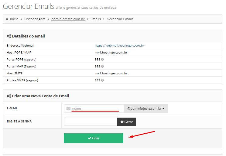 criando conta de email personalizado na hostinger