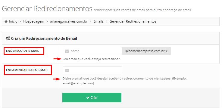 redirecionar email corporativo para email pessoal