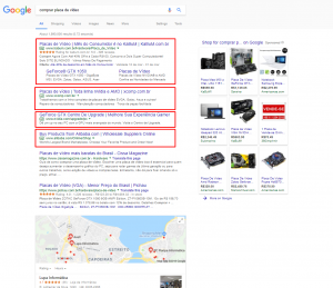 "Google search for the term ""buy video card"""