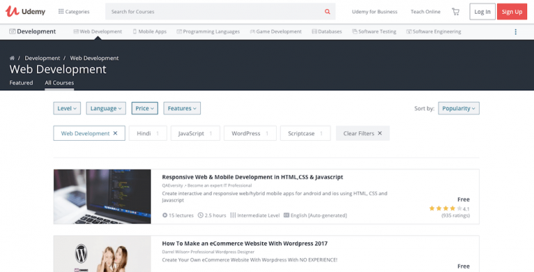 tela da plataforma udemy sobre desenvolvimento web para aprender como programar