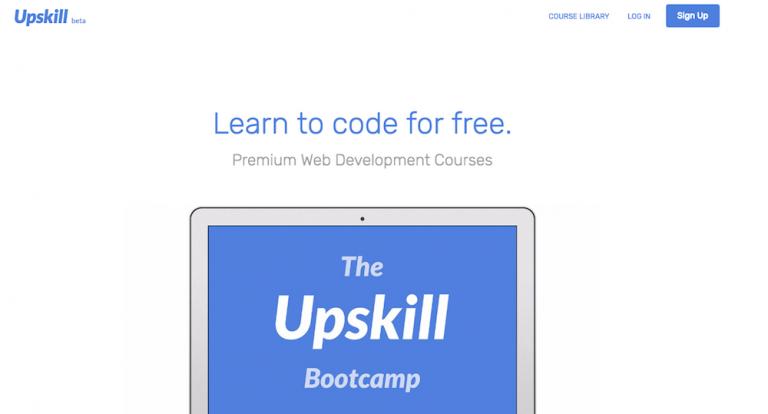 tela do site upskill para aprender como programar sem gastar nada