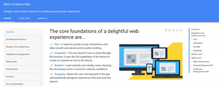 você pode aprender como programar com a plataforma do web fundamentals do google