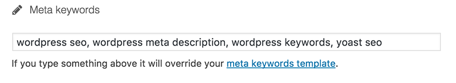 Add keywords in wordpress