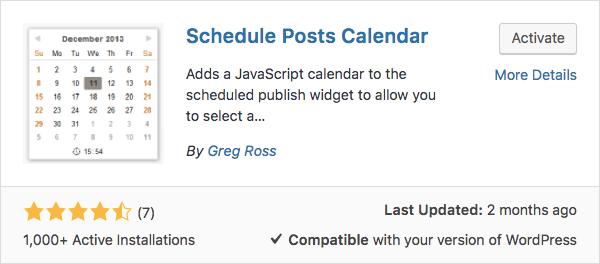 Calendario para agendar posts
