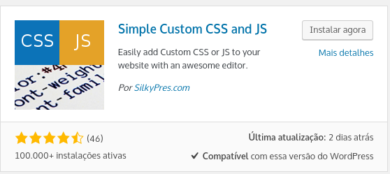 imagem do plugin simples custom css and js para css personalizado