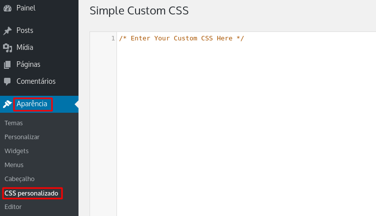 simple custom css installed to use custom css