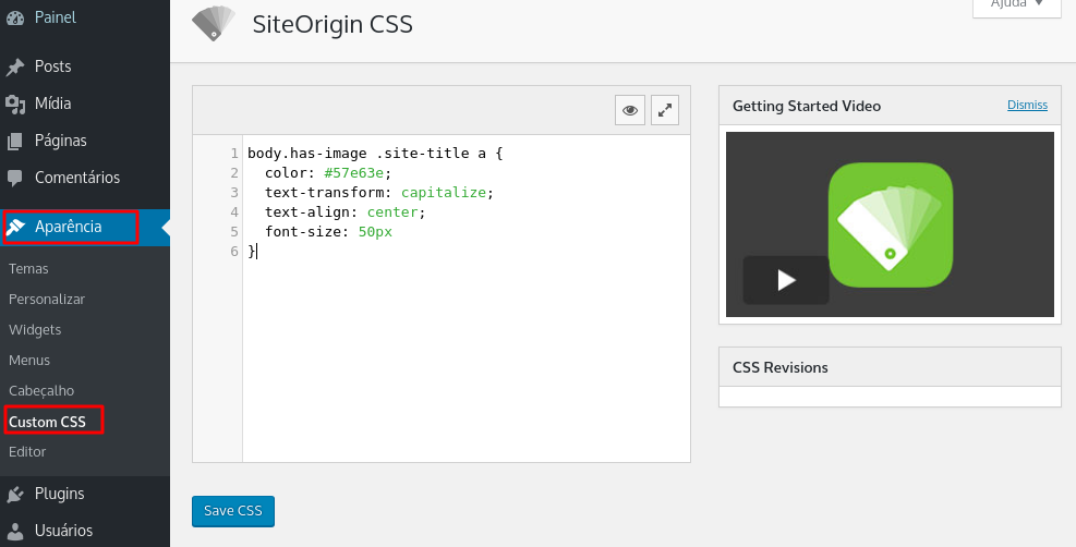 css siteorigin plugin installed to use custom css