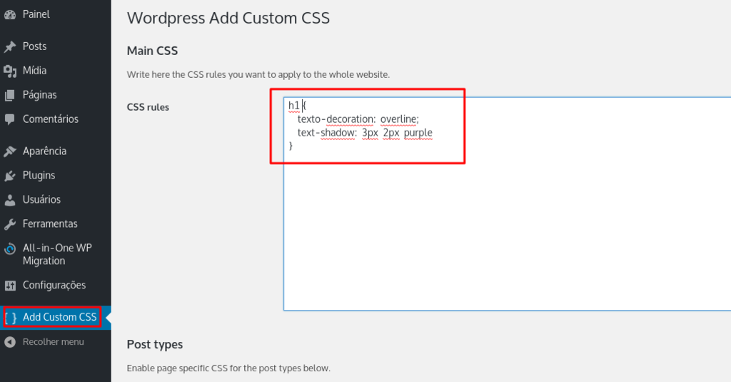 wp plugin option to add css personalziado