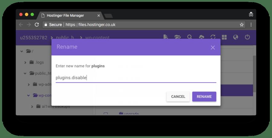 forma de renomear a pasta de plugin depois de desativá-los como forma de corrigir o erro 502 bad gateway