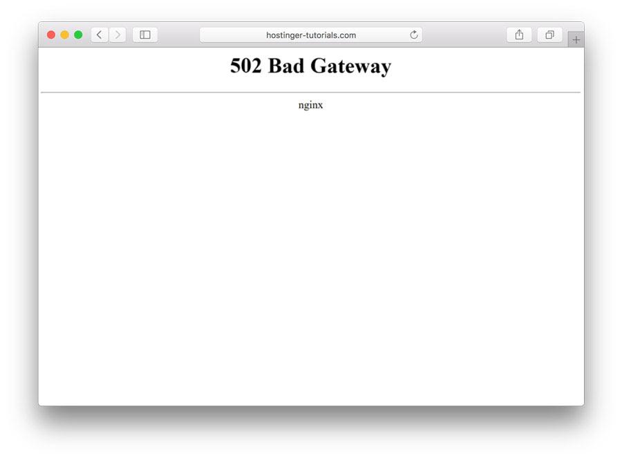 imagem mostra o erro 502 bad gateway