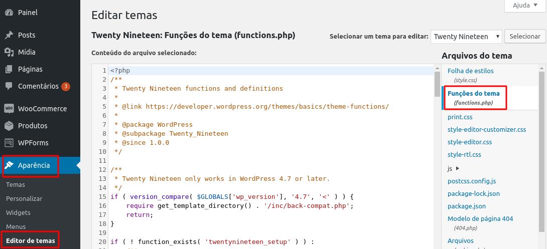 editar arquivo functions.php no wordpress
