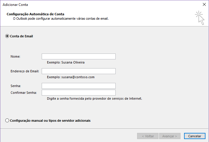 configurando os campos de email no outlook