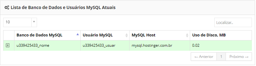 database list and users in the process of connecting with php mysql