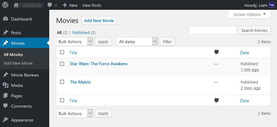 Lista dos tipos de post WordPress padrão
