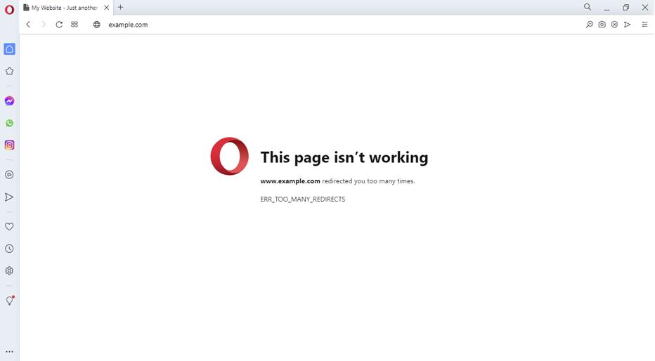 ERR_TOO_MANY_REDIRECTS no opera