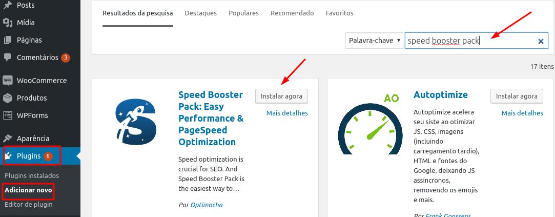 instalar e ativar plugin speed booster pack no wordpress