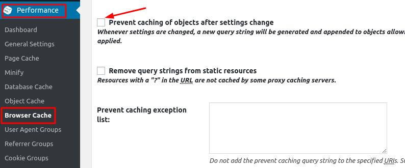 opçãod e impedir armazenamento em cache pelo plugin w3 total cache