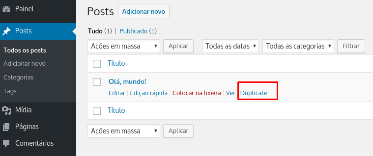 opção de duplicar com o plugin duplicate post and page