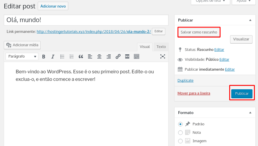 save and publish a draft or content with plug-duplicate post and page