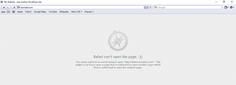mensagem de safari não pode abrir a página