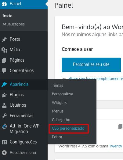 usando css personalizado para remover orgulhosamente desenvolvido com wordpress