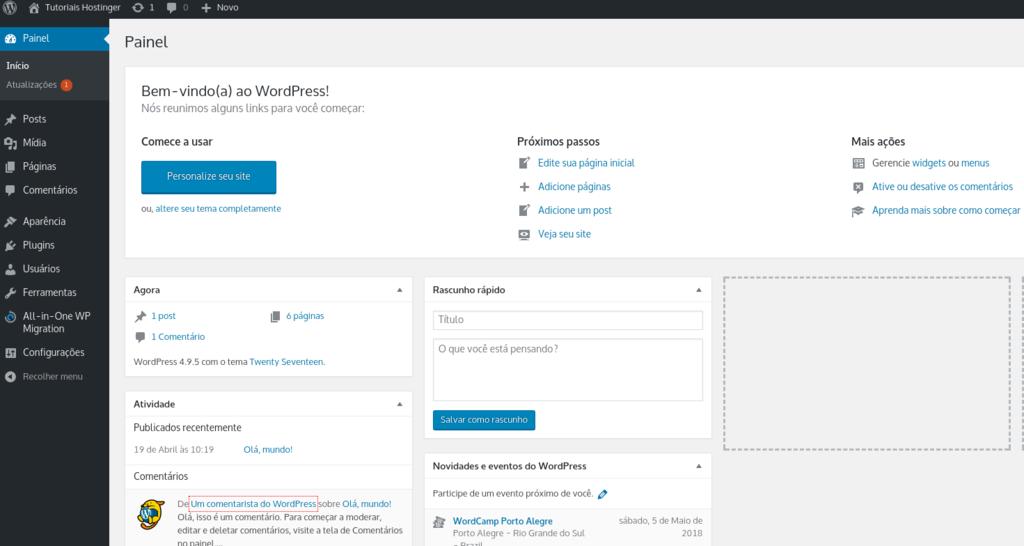 dashboard geral que você tem acesso quando entra pelo WordPress Login