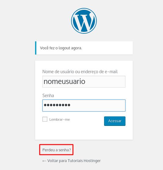 clique em perdeu a senha no WordPress Login para recuperar sua senha