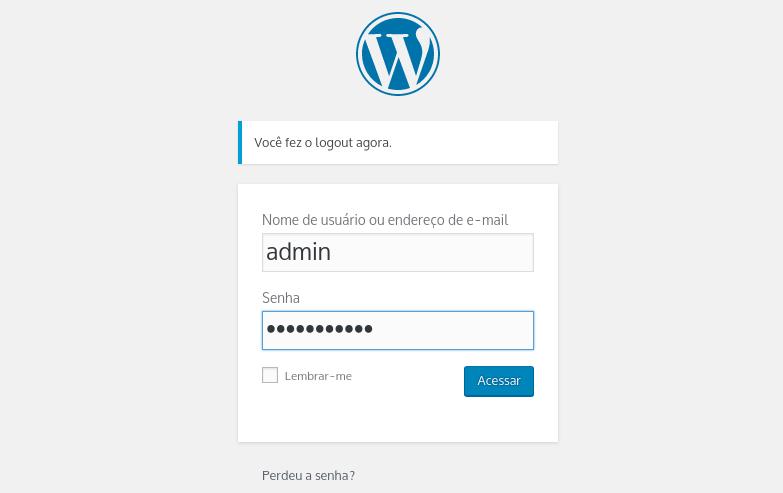 fazer login no wordpress para acessar o painel de controle
