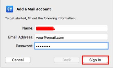 informações da conta de email