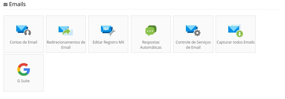 painel de controle para adicionar contas de email