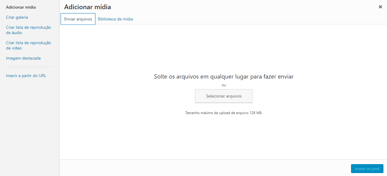 adicionar mídia no wordpress