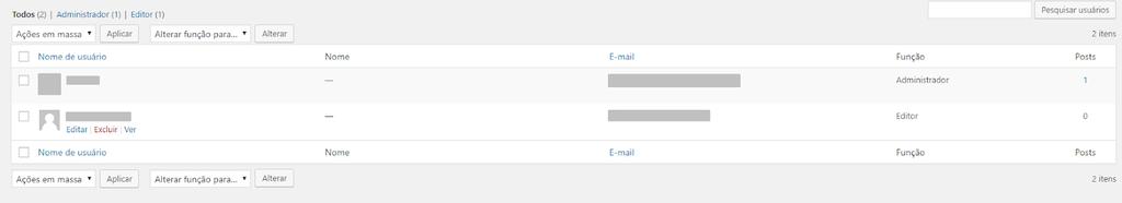 opção de editar nomes de usuários wordpress já existentes