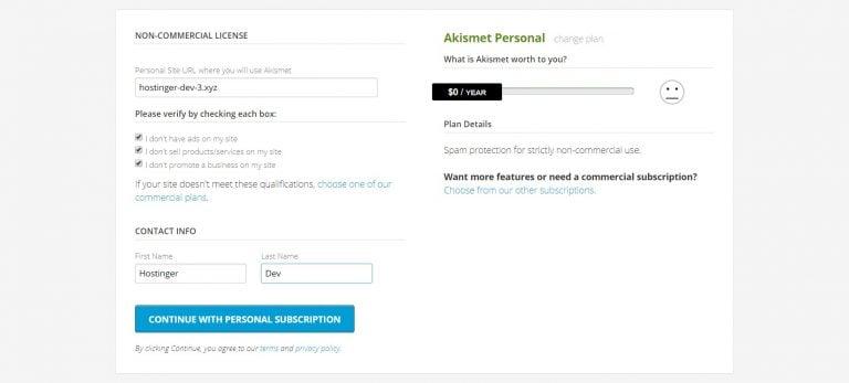 assinatura grátis do plugin Akismet para bloquear spam