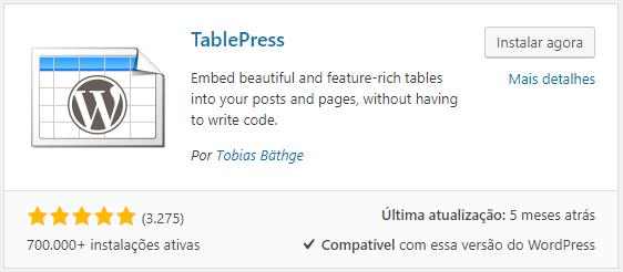 ajudamos você a criar uma tabela wordpress