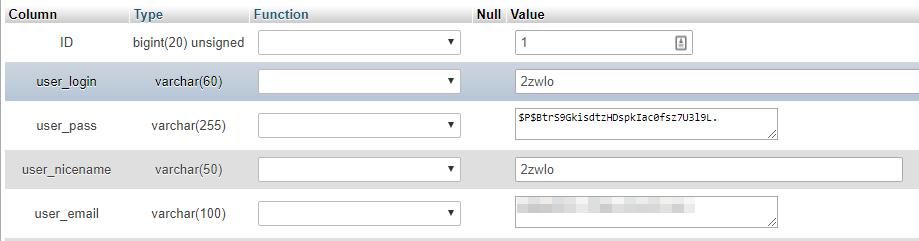 campos de informação de configuração de usuário no phpadmin do wordpress