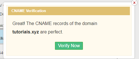 Cname verification no zoho