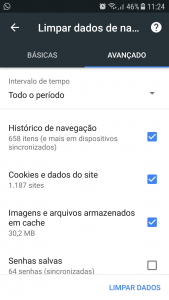 limpar o cache do navegador pelo google chrome no android