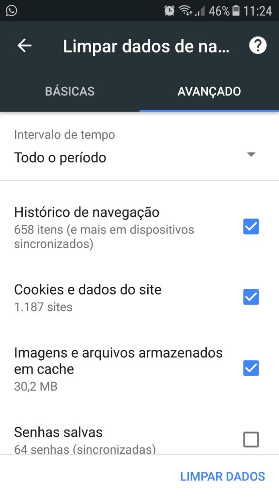 limpar o cache do navegador pelo google chrome no android