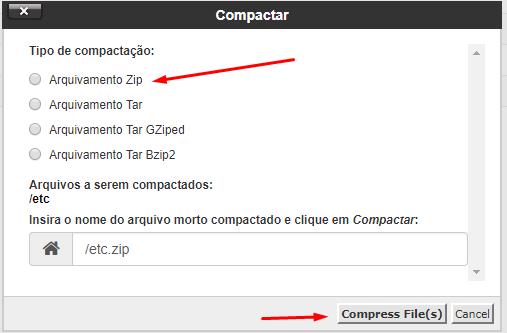 arquivamento zip para compactação de dados no gerenciador de arquivos do cpanel