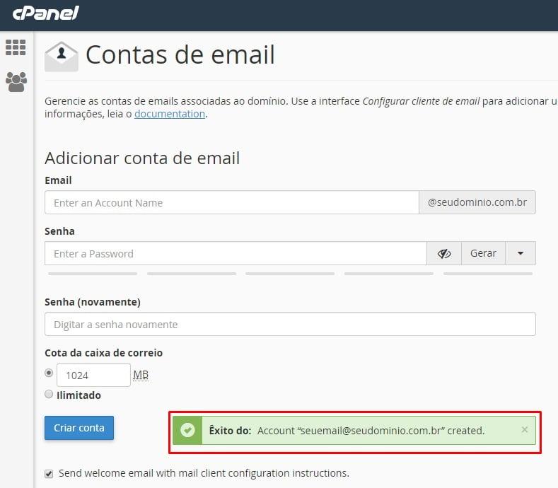 mensagem de confirmação que você aprendeu como criar uma conta de email no cpanel