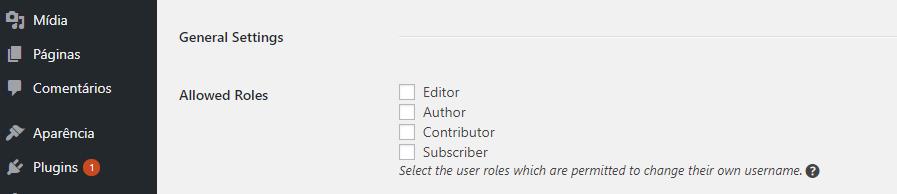 opção de determinar funções no plugin username changer