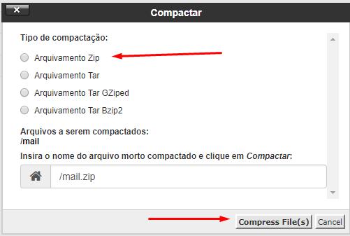 opção arquivamento zip para comprimir dados no gerenciador de arquivos do cpanel