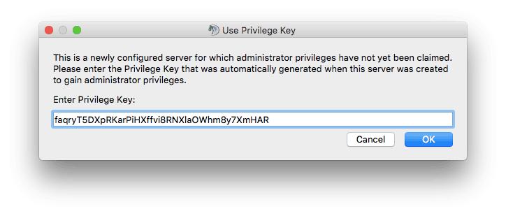 colocando a chave privilegiada para se conectar no TS3 no mac