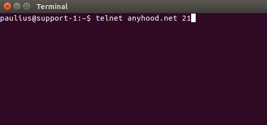 exemplo de comando telnet para verificar para verificar porta 21 ftp bloqueada