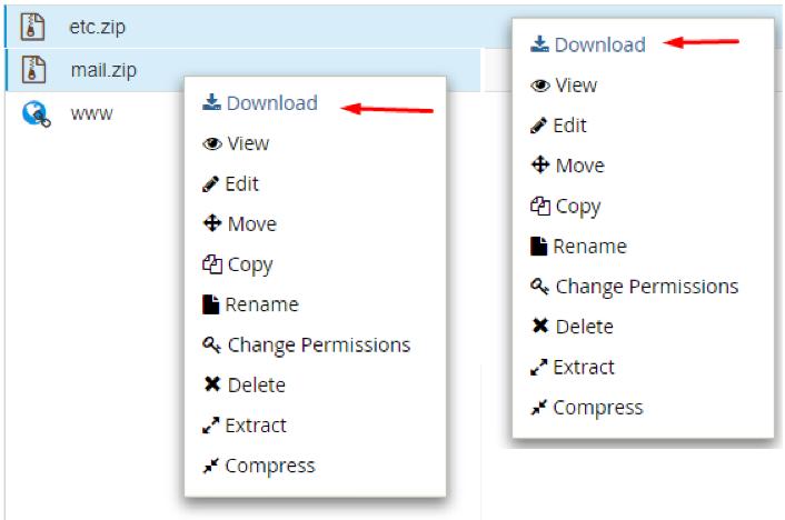 fazendo download dos arquivos compactados no gerenciador de arquivos do cpanel