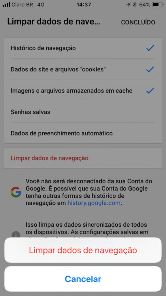 opções de como limpar o cache do navegador no google chrome ios