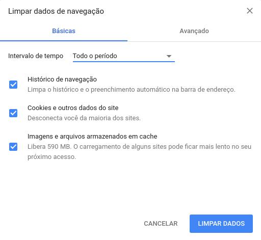 limpar dados de navegação no Chrome