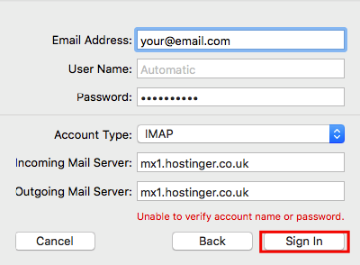 detalhes da conta de email e entrar