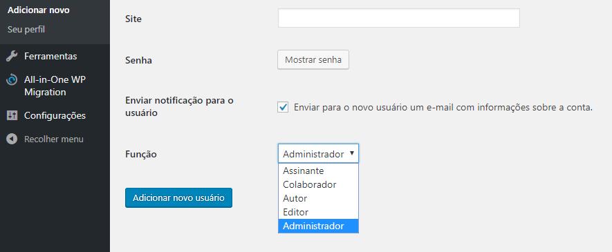 opção de marcar como administrador um novo usuário criado no wordpress