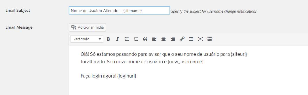 mensagem de confirmação de email sobre alteração de nome de usuário WordPress